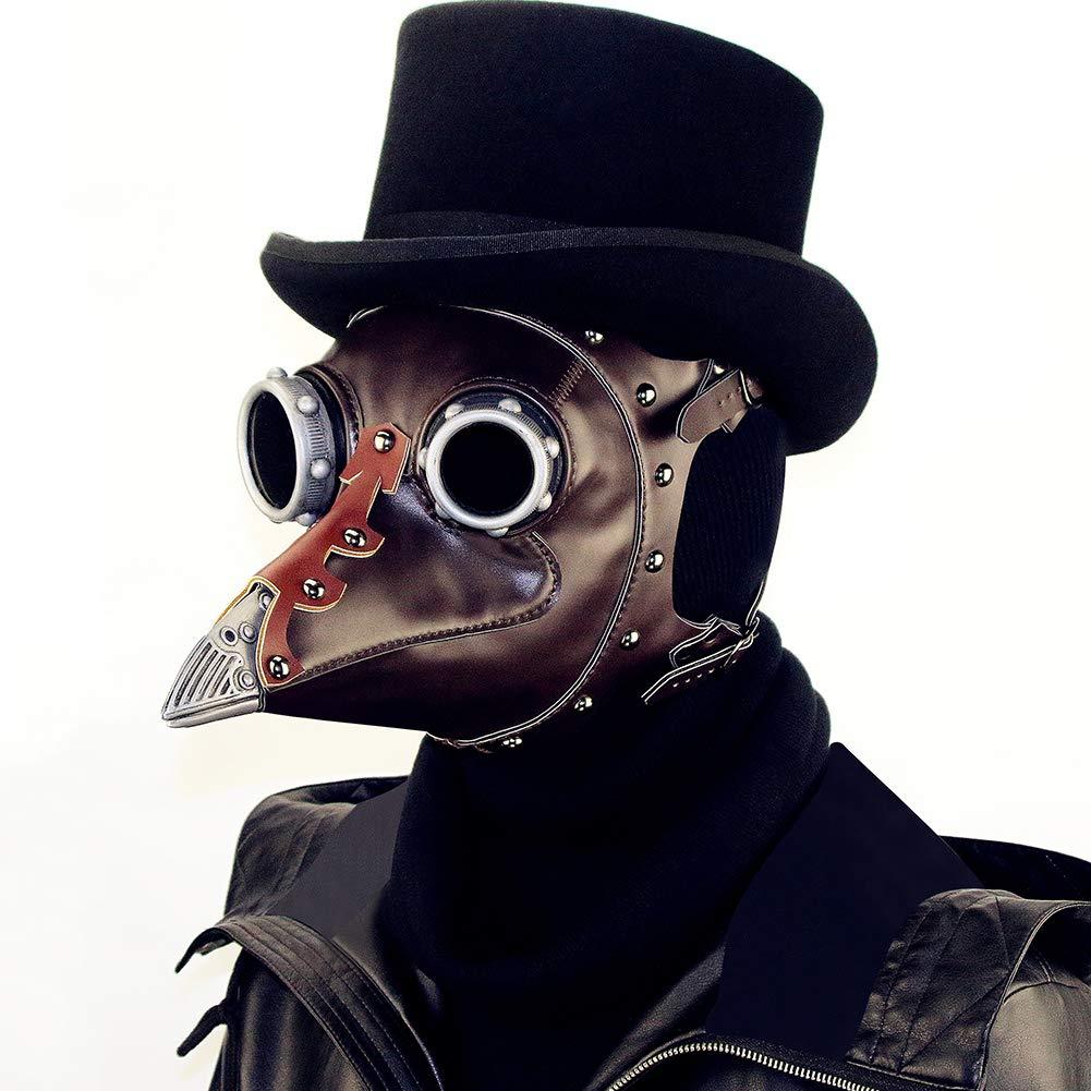 Pest Dr. Bird Volles Gesicht Maske, Halloween Maske, Gesicht PU-Leder Dampf Punk Lange Nasenmaske, Cosplay Kleidung Requisiten - Schwarz (Einheitsgröße) 55ef9b