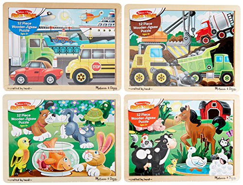 - Melissa & Doug Wooden Jigsaw Puzzles Set: Vehicles, Pets, Construction, and Farm (4 puzzles)