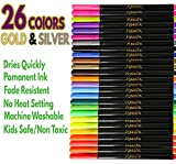 26 Fabric Markers Pen Set (Gold and Silver Included) 36 Stencils Permanent Ink Colors Art Marker for Fabric Painting Writing on Cloth Laundry Clothes Canvas Bags Shirts Shoes Non-Toxic Paint Kids-Safe