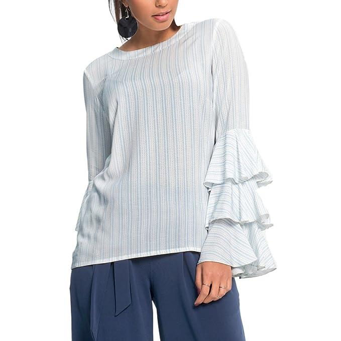 ishine Camisa Mujer Verano Blusa Manga Larga Mujer Impresión Sección Delgada con 2 Colores