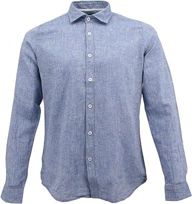 Camisa de Lino para Hombre, Blanco, Azul, Beige, Kamel, Corte Slim Fit: Amazon.es: Ropa y accesorios