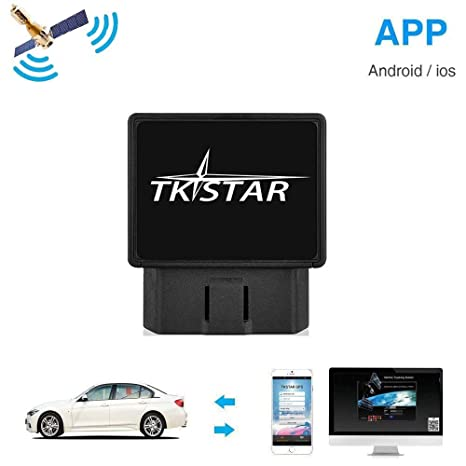 Tkstar OBD Car GPS Tracker,Real Time Tracking Device Teen Driving Coach,  Free APP Vehicle Anti-theft Monitoring System Support IOS & Android