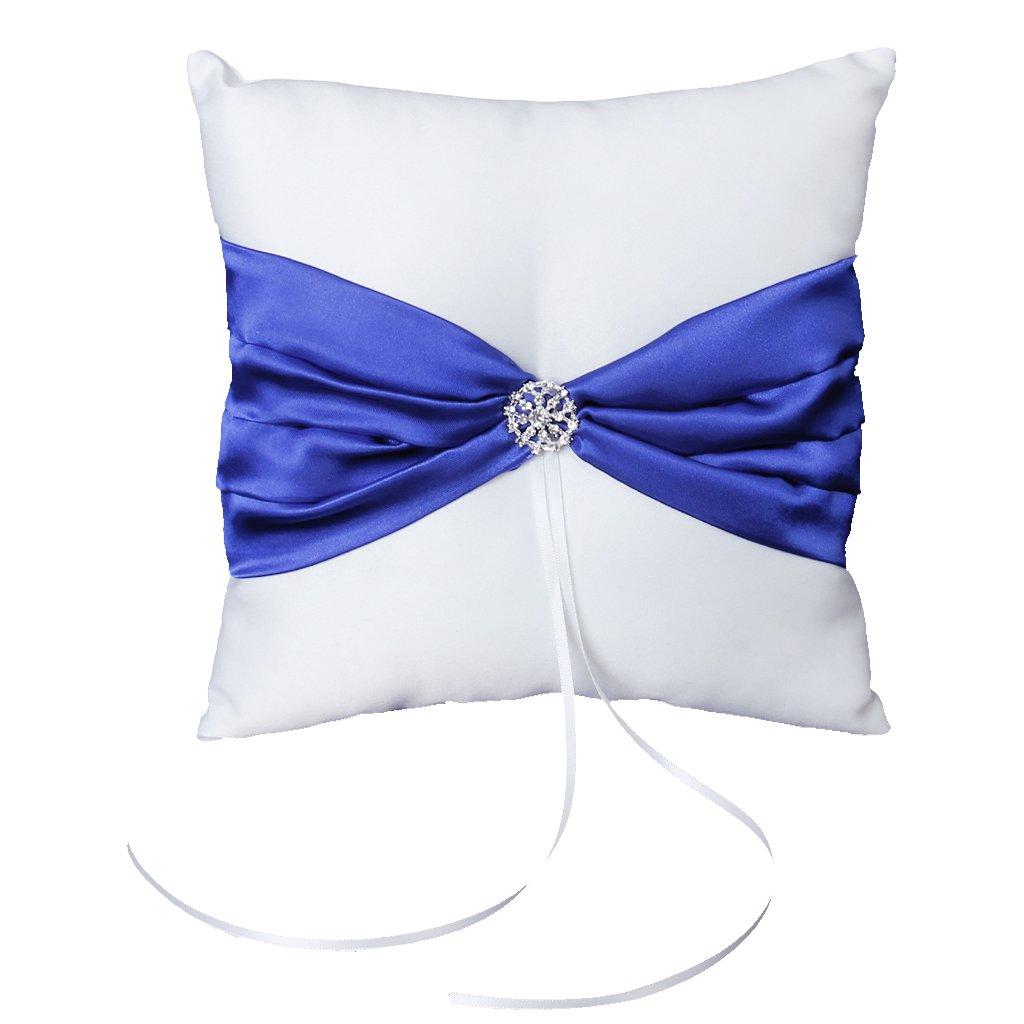 Generic - Satin boda fiesta diamante pocket anillo almohada cojín (royal blue bowknot) , color blanco