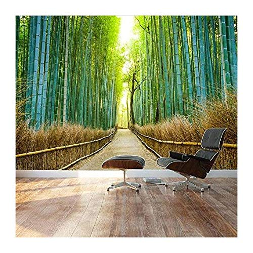 Bamboo forest with a cleared path headed into a sunny clearing Green and gold branches Landscape Wall Mural