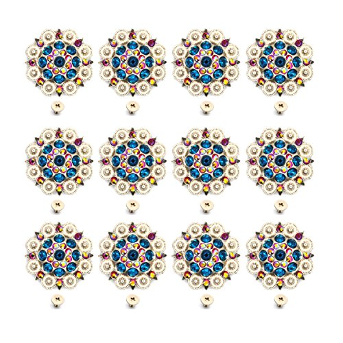 MarryAcc Berry Conchos with Screws Metal Flower Rhinestone Conchos 12 Pieces (Color 1) (Custom Conchos)