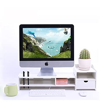 Yumu Support pour écran d ordinateur ou télévision avec tiroir, idéal pour  surélever votre b5a42ad6e47d