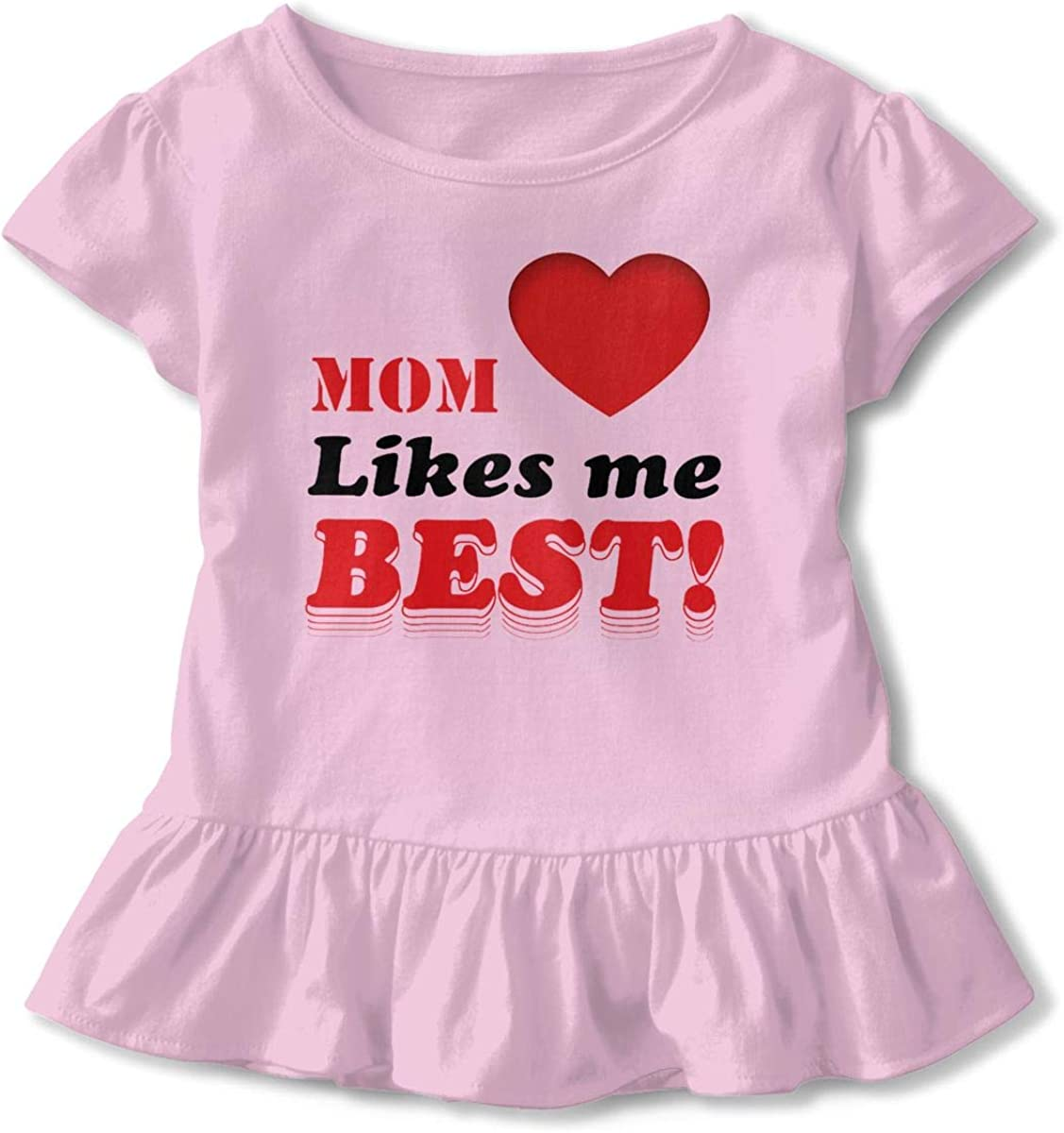 Mom Likes Me Infant Girl Short Sleeve T-Shirt Ruffles Casual Tops for 2-6 Years Old Baby