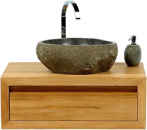 Waschbecken Flußstein Naturstein Waschtisch Waschschale Oval 30-35cm//40-45cm