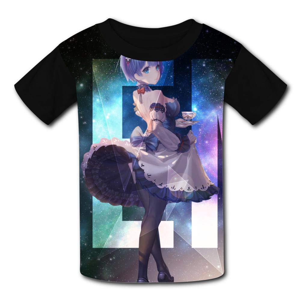 Lcso47 Kids T-Shirt Beautiful R-em Galaxy 3D Printed Crew Neck Youth T Shirts Tee for Boys Girls Children