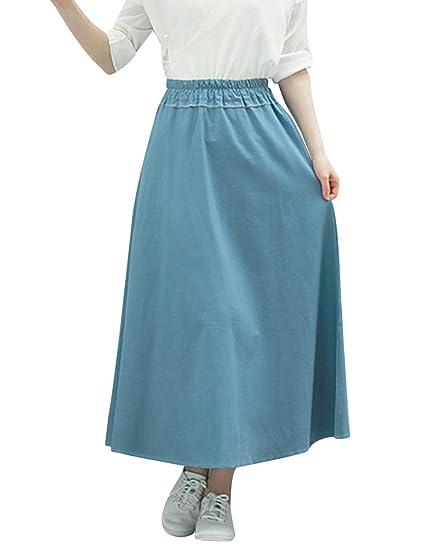 87b33ba95eb0 Tanming Women s Elastic Waist A-Line Long Maxi Linen Skirt (One Size ...