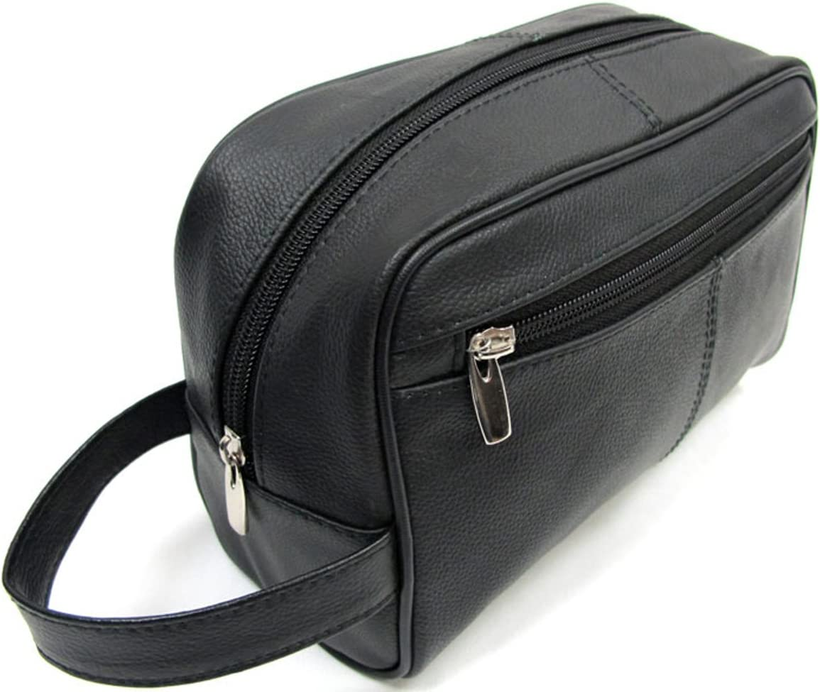Genuine Leather Men s Shaving Toiletry Travel Bag 3 Zipper Plus Inside Zipper Pocket – Black 13.99