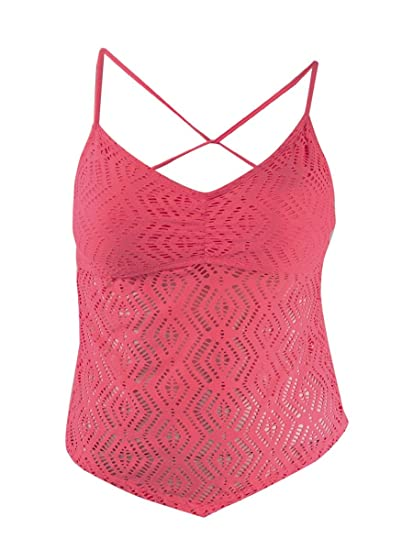 3a48a32d84 Image Unavailable. Image not available for. Color: Hula Honey Womens  Crochet Tankini Swim Top ...