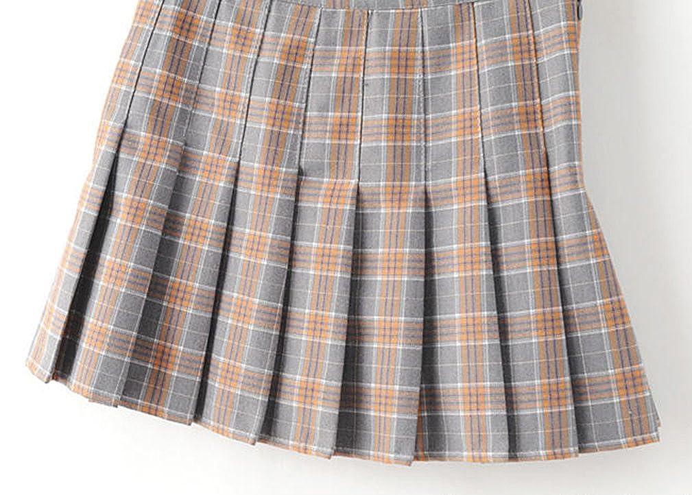 de58bb0d2d Yasong Women Girls Short High Waist Pleated Skater Tennis Skirt School Skirt  Uniform with Inner Shorts: Amazon.co.uk: Clothing