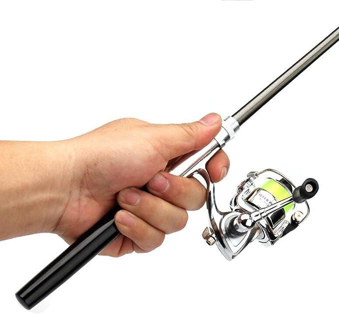 Zyy Mini Canne à pêche Stylo Portable Télescopique Carbone