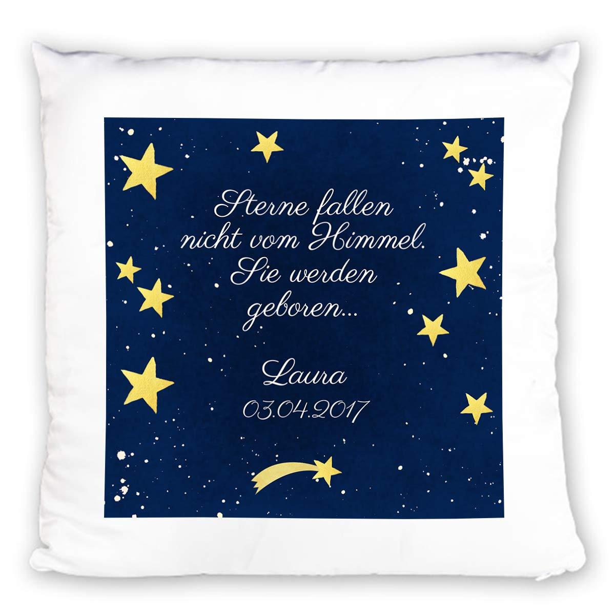 Kuscheliges Namenskissen Sterne zur Geburt