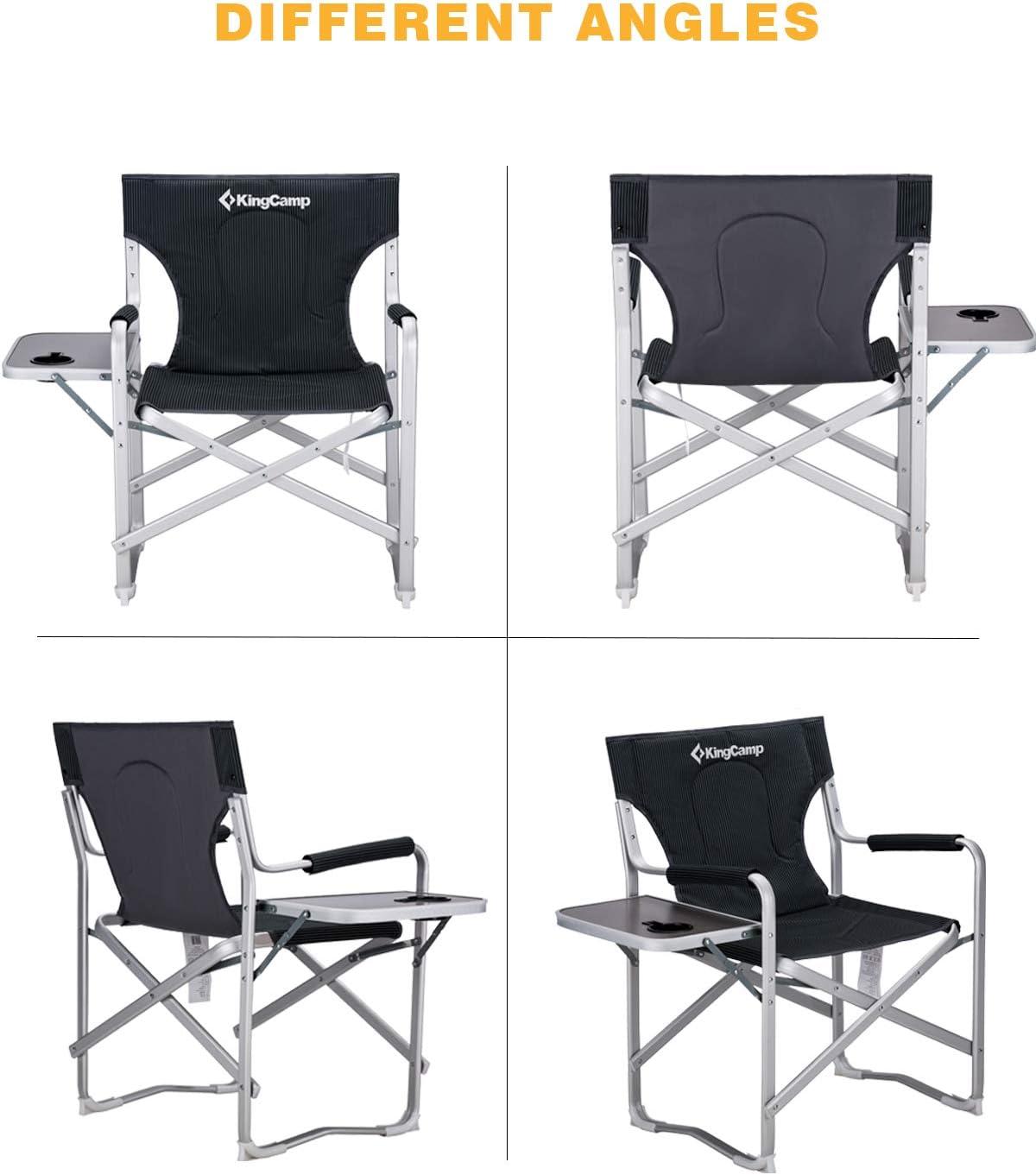 KingCamp Sedia da Regista Pieghevole per Campeggio Resistente Sedile Imbottito Oversize con tavolino Laterale e Custodia portaoggetti 180 kg