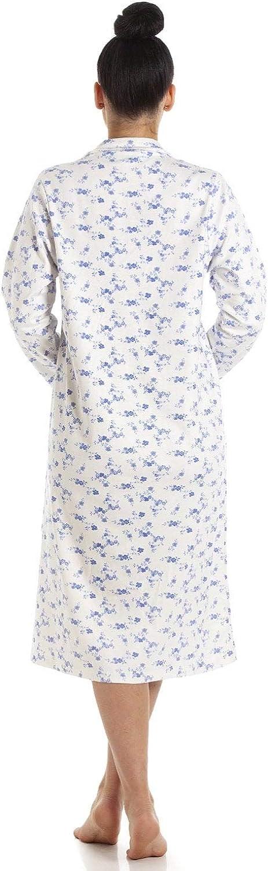 Blanc//Motif Floral Bleu Camille Chemise de Nuit Classique pour Femme Manches Longues//Boutons sur Le Devant Coton