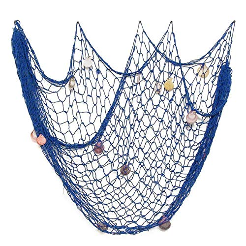 VEIOU Fish Net Decor Nautical Mediterranean Style Home Wall Decorative With Shells (Blue)