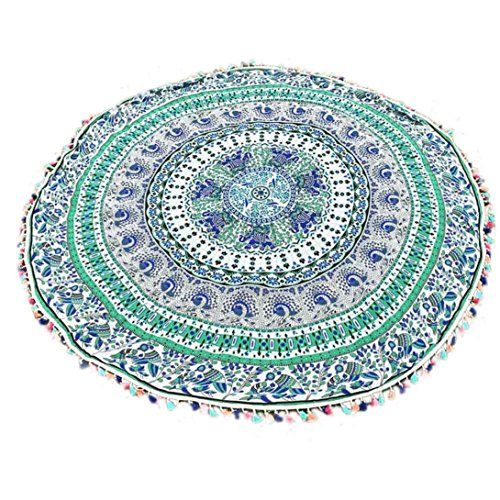 HOT, YANG-YI Round Hippie Tassel Tapestry Beach Throw Towel Yoga Mat Bohemian Home Decor (Green, 59 inches approx)