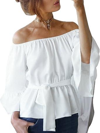 Blusa Camiseta Casual Elegante Verano Playa Cuello Barco Mangas Largas para Mujer: Amazon.es: Ropa y accesorios