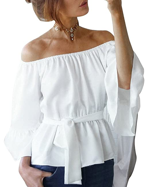 Blusa Camiseta Casual Elegante Verano Playa Cuello Barco Mangas Largas para Mujer Blanco S