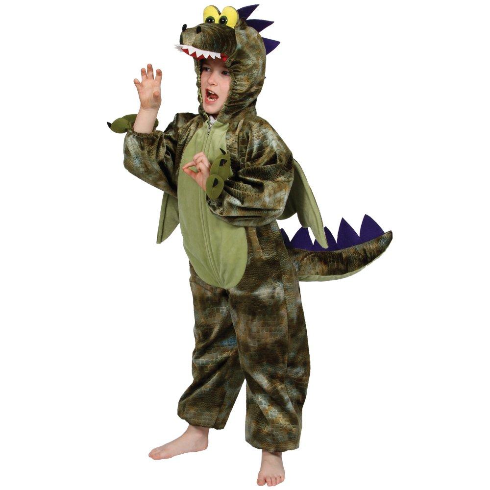 Disfraz de dragón verde oscuro para 3 - 4 años
