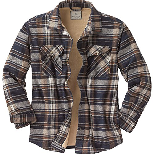 [Legendary Whitetails Mens Deer Camp Fleece Lined Shirt Jac Midnight Storm Plaid XXX-Large] (Sherpa Lined Flannel Shirt)