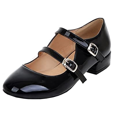 d2bfe3c45a Amazon.com | Agodor Women's Flats Mary Janes Ballet Patent Leather Work  Shoes with Buckle Dolly Summer Shoes | Shoes
