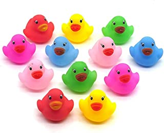 Amesii 12Pcs Mini Colorful Bathtime Kids Baby Bath Toy Ducks Squeaky Water Play Fun