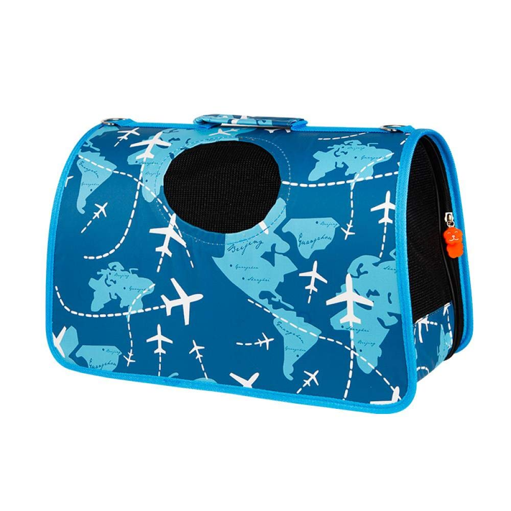 Portable Travel Pet Backpack, Blue Aircraft Route Special Impulse, Medium 4-9 kg (for Reference)