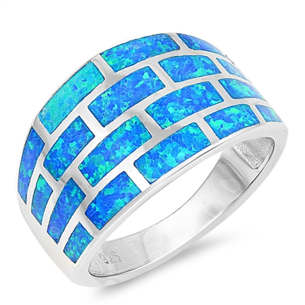 CloseoutWarehouse Blue Simulated Opal Brick Wall Design Ring Sterling Silver Size 6