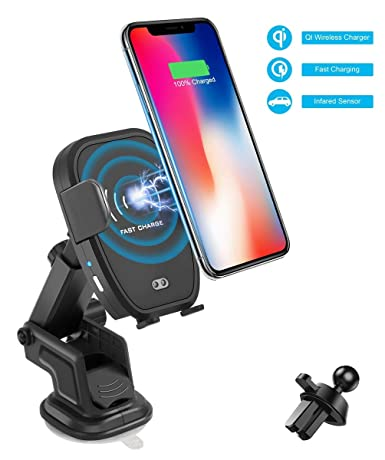 Car Electronics & Accessories Blue Car Charger Wireless Mobile Phone Bracket Automatic Intelligent Induction Air Outlet Windshield Car Interior Navigation Bracket Apple/Android Car Electronics Accessories