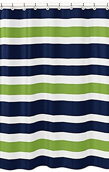 Amazon.com: Navy Blue, Lime Green And White Kids Bathroom Fabric ...