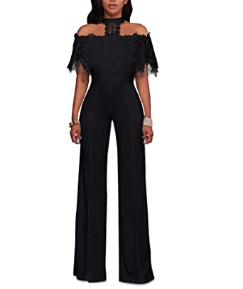 d2e6699e07e Amazon.com  IyMoo Womens Sexy Halter Off Shoulder Lace Ruffles Mesh High  Waisted Long Wide Leg Jumpsuits Rompers  Clothing