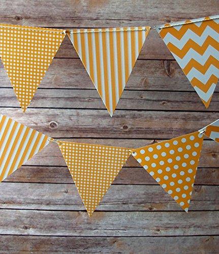 Quasimoon PaperLanternStore.com Orange Mix Pattern Triangle Pennant Banner (10 Pack)