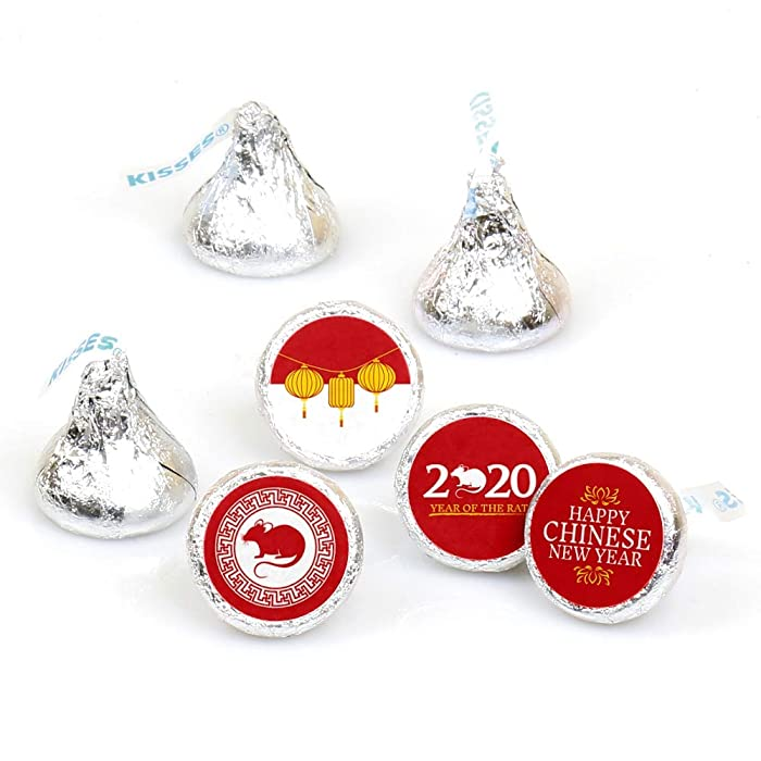 Big Dot of Happiness Chinese New Year - 2020 Year of the Rat Party Round Candy Sticker Favors - Labels Fit Hershey's Kisses (1 Sheet of 108)