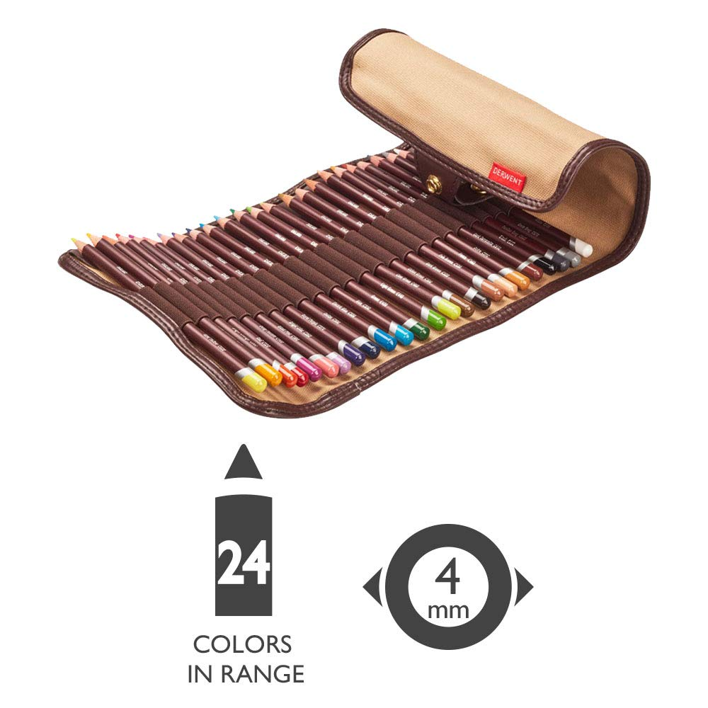Derwent Coloursoft Wrap Set da 24 Matite Colorate Sfumabili con Astuccio in Tela
