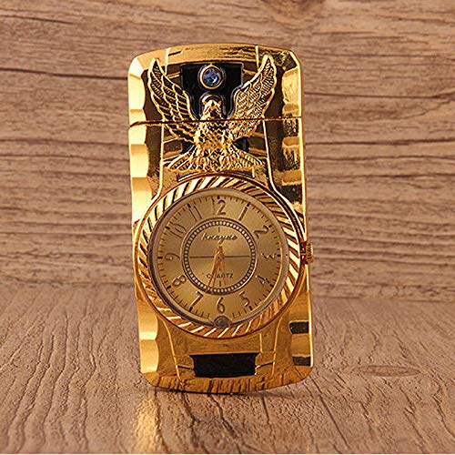 - New Fashion Metal Windproof Jet Torch Gas Butane Cigarette Lighter Bird Quartz Watch (Gold Color)