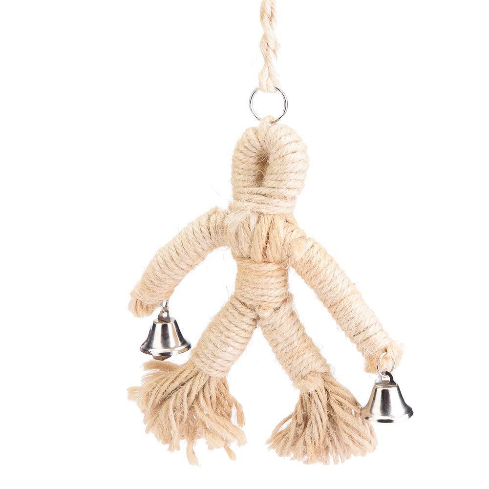 Fdit Pet Bird Parrot Swing Hanging Toy Human Design Chew Toys Birds Hang Rope Playing Supplies