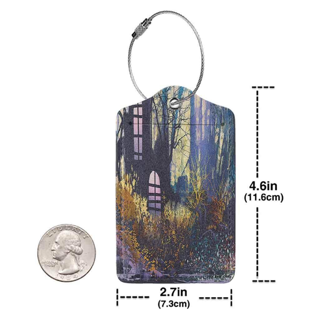 Multicolor luggage tag Fantasy Art House Decor Mystical House A in Tree Trunk with Windows Lost City Animation Print Hanging on the suitcase Multi W2.7 x L4.6