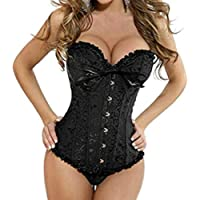 Martya Women's Gothic Lace up Boned Overbust Bustier Brocade Basque Corset Lingerie Plus Size 6-24