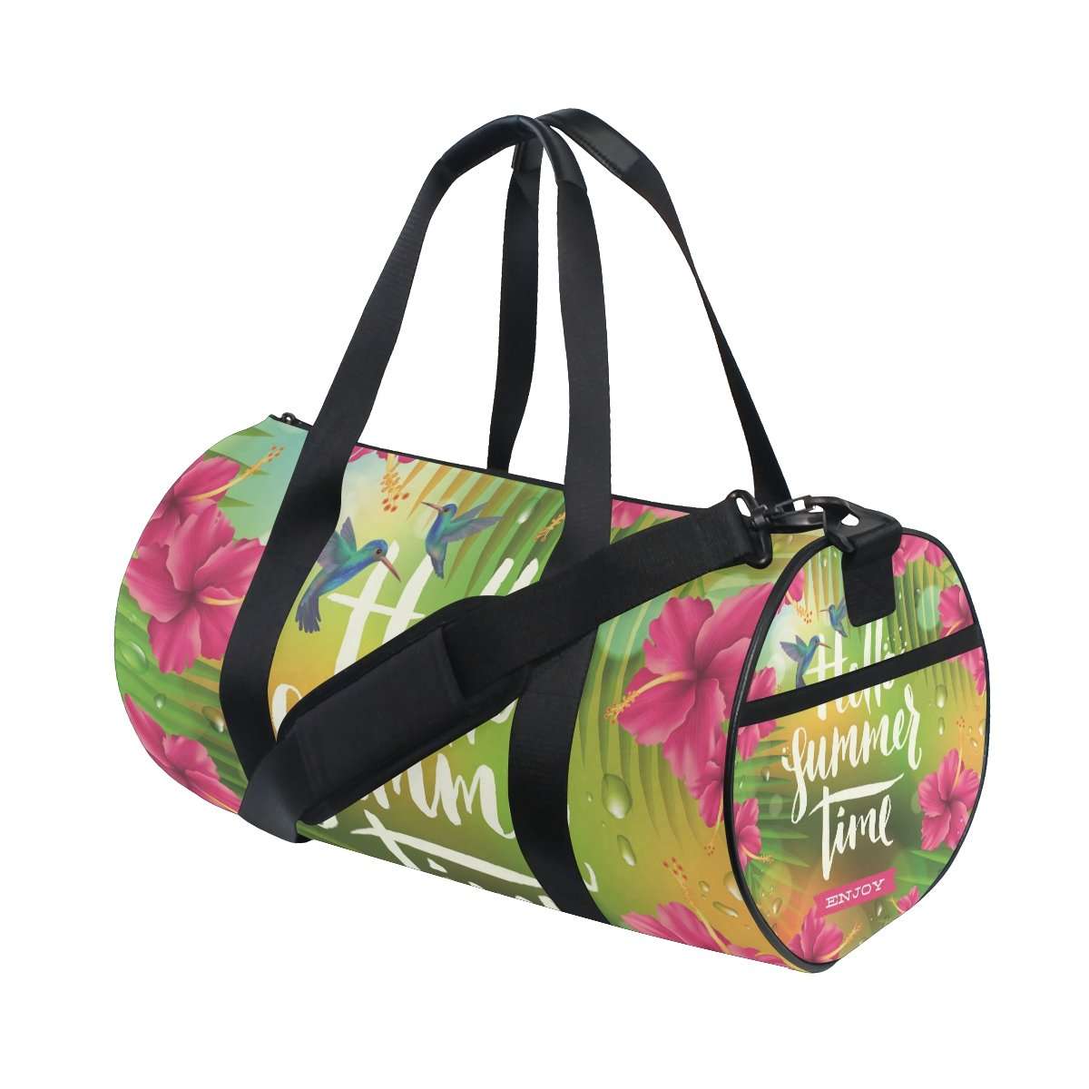 Gym Duffel Bag Summer Hummingbird Hibiscu Sports Lightweight Canvas Travel Luggage Bag