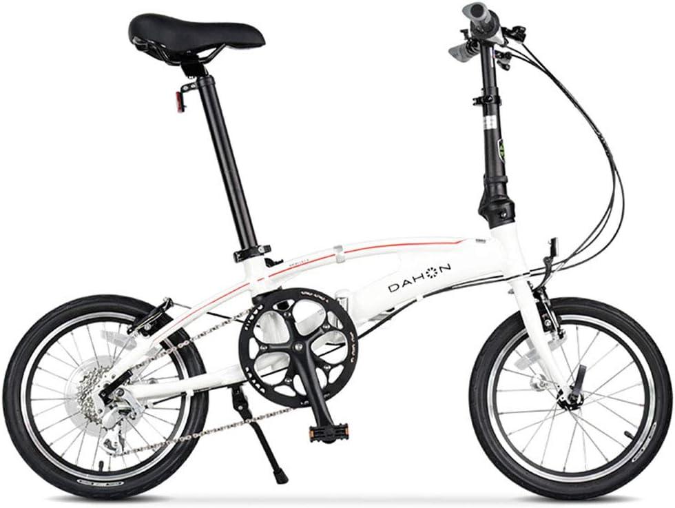 折りたたみ自転車 自転車折りたたみ自転車ユニセックス16インチ小型ホイール自転車アルミニウム合金ポータブル8スピード自転車 (Color : 白, Size : 126*35*105cm) 白 126*35*105cm