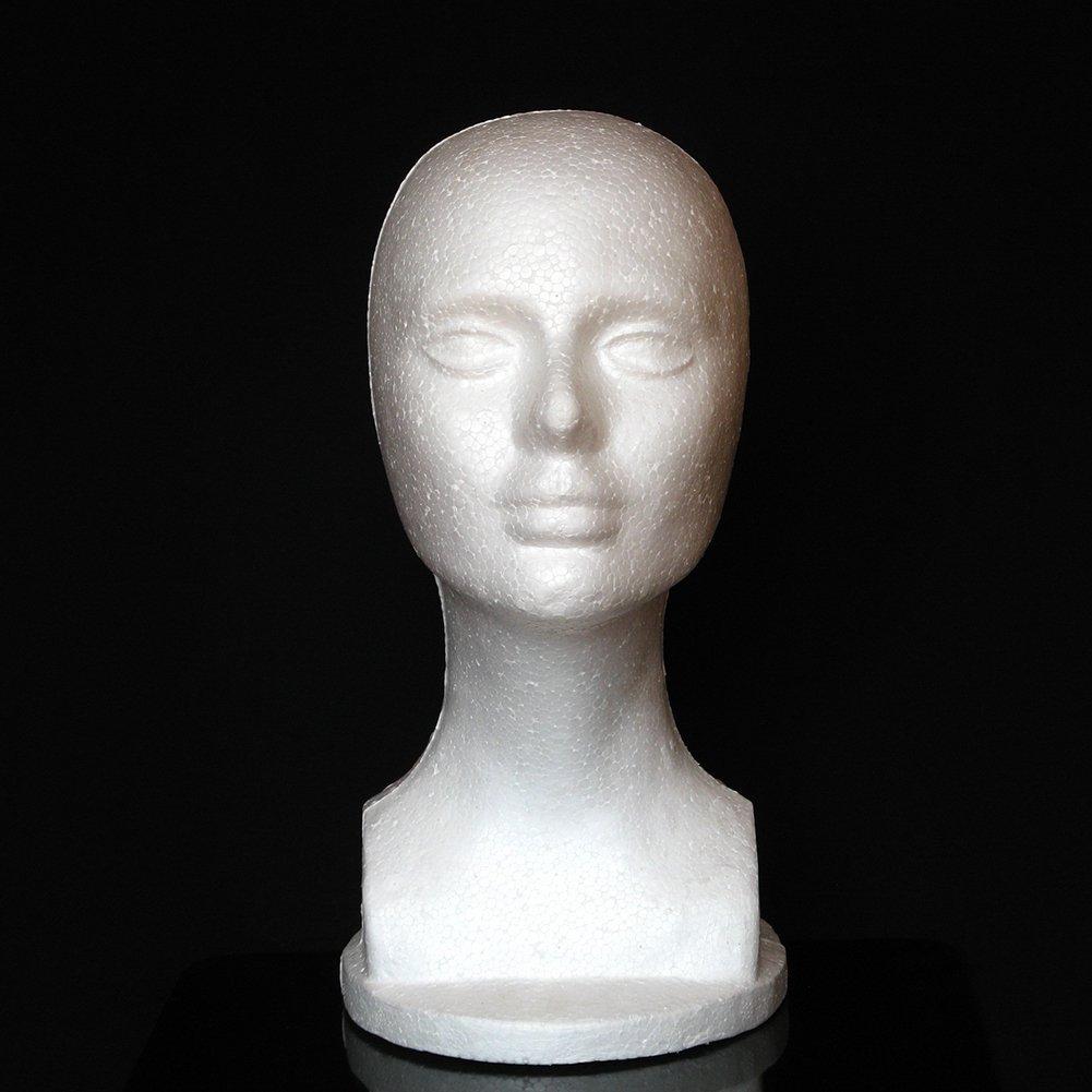 Mannequin Head gLoaSublim, Female Foam Mannequin Manikin Head Model Shop Wig Hair Jewelry Display Stand