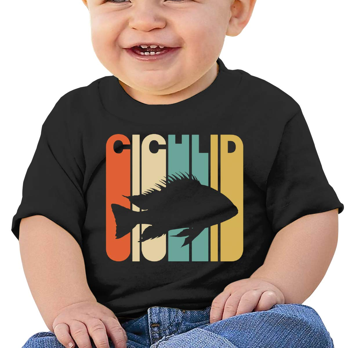 Vintage Style Cichlid Silhouette Baby Girl Newborn Short Sleeve T-Shirt 6-24 Month Cotton Tops