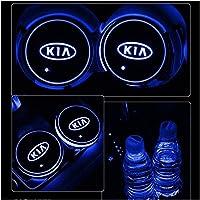 OUIPP Posavasos Coche 2X 7 Colores Tenedor de Copa de Coche LED para KIA K3 K5 KX7 SPORTAGE USB Mat de Carga…