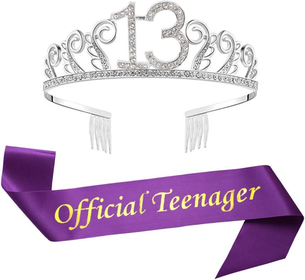 13th Birthday Gold Tiara and Sash Happy 13th Birthday Party Supplies Birthday Girl Glitter Satin Sash and Crystal Tiara Princess Birthday Crown for Girls 13th Birthday Party Decorations Favors