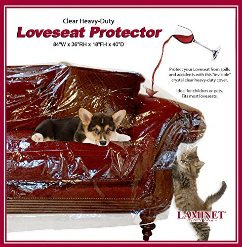 "LAMINET Deluxe Heavy-Duty Crystal-Clear Furniture Protectors Protects Dust, Dirt, Spills, Pet Hair and Dander, Paws and Claws Sofa-36""RH x 18"" FH x 84""W x 40"" D, Loveseat Sofa"