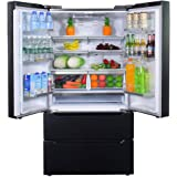 SMETA 36 Inch 22.5 Cu.Ft Counter Depth French Door Refrigerator Bottom Freezer with Auto Ice Maker for Home Kitchen, Black Go