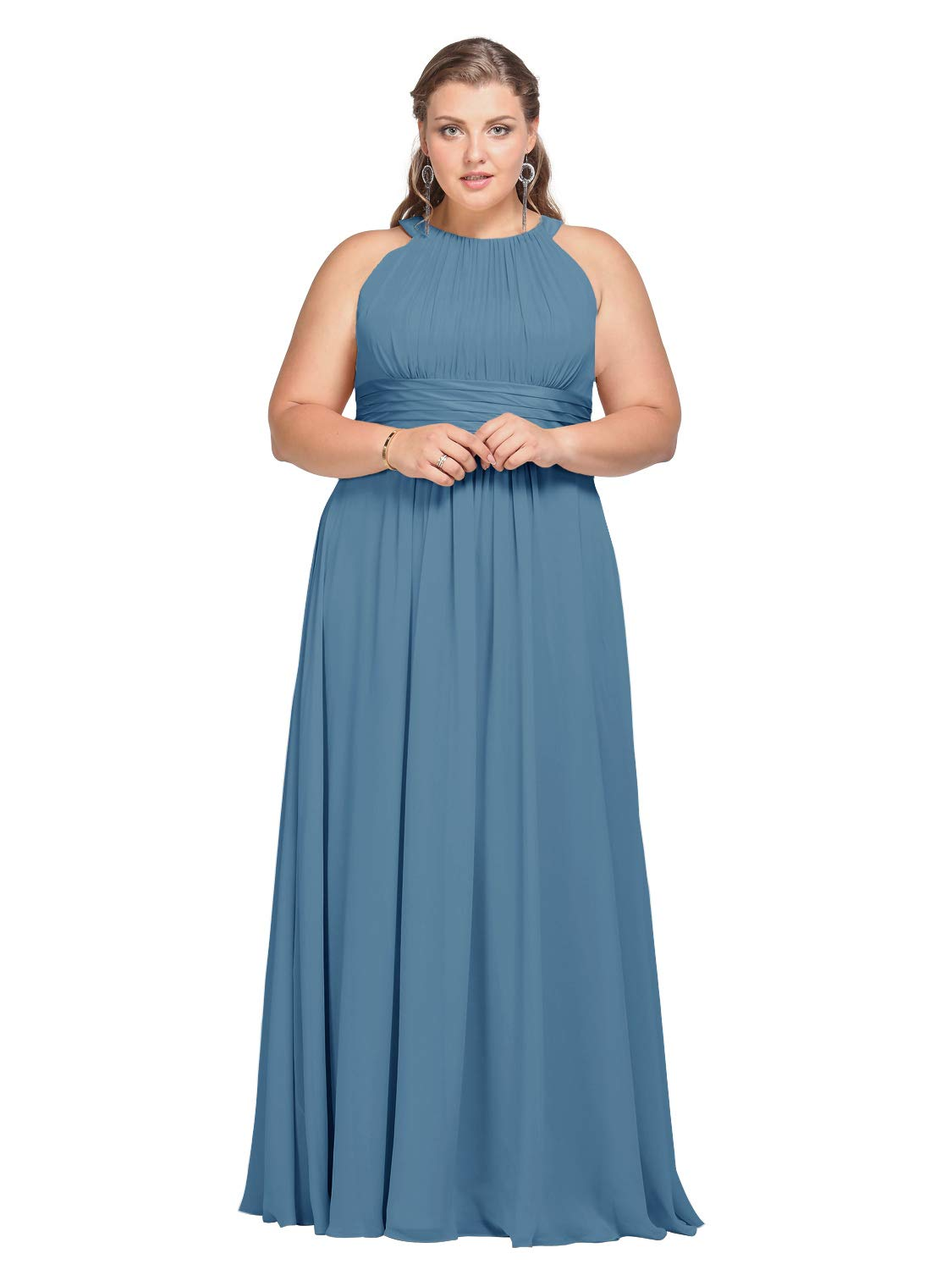 AW Bridal Plus Size Long Bridesmaid Dresses Jewel Neck Prom Dresses Modest  Chiffon Evening Formal Dresses, Dusty Blue, US22